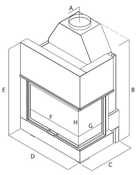 Termocamino a legna - Mod. - Angle - Camini & Camini - TCM