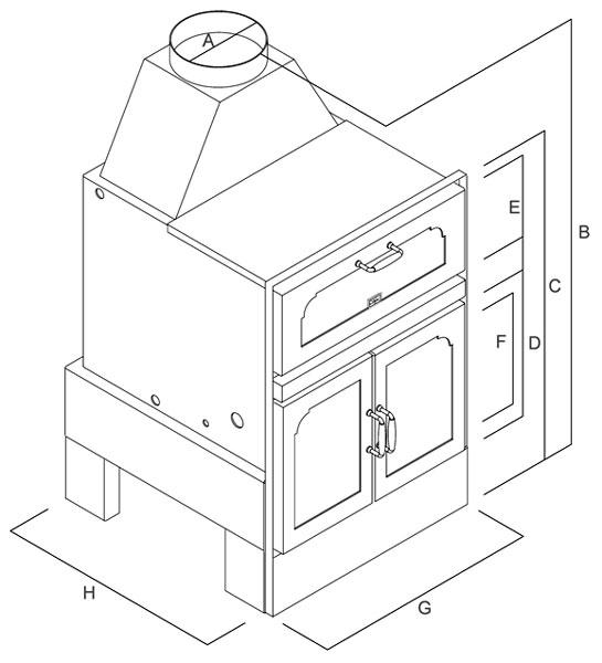 Termocamino a legna - Mod. Kitchen - Camini & Camini - TCM
